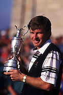 NICK FALDO WITH <br />OPEN 1990 TROPHY AT ST. ANDREWS,<br />SCOTLAND. JULY 1990