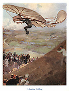 Otto Lilienthal (1848-96) German aeronaut, taking to the air in one of his gliders. He made more than 2,000 flights before being killed in a crash. Early 20th century book illustration.