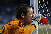 5/22/15- New England Revolution goalkeeper Bobby Shuttlesworth catches his breath during a NYCFC home match played at Yankee Stadium in the south Bronx.