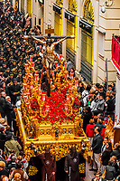 A paso (float) of the crucifixion of Jesus Christ in the procession of the Brotherhood (Hermandad) El Buen Fin, Holy Week (Semana Santa), Seville, Andalusia, Spain.