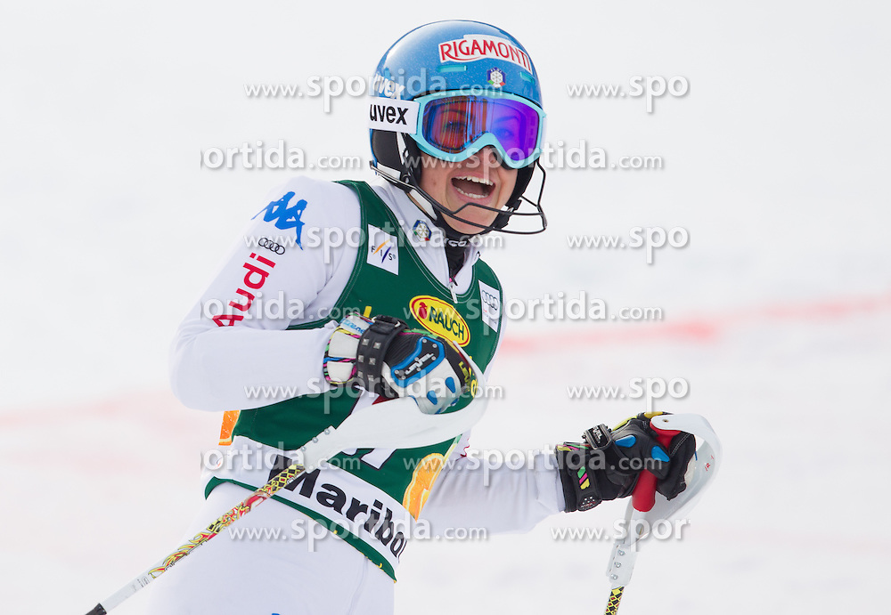 "CURTONI Irene (ITA) celebrates after the 2nd Run of FIS Alpine Ski World Cup 7th Ladies' Slalom race named ""49th Golden Fox 2013"", on January 27, 2013 in Mariborsko Pohorje, Maribor, Slovenia. (Photo By Vid Ponikvar / Sportida.com)"