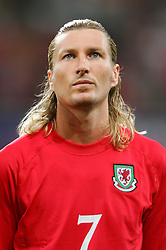 CARDIFF, WALES - Wednesday, September 8, 2004: Wales' Robbie Savage lines-up before the Group Six World Cup Qualifier against Northern Ireland at the Millennium Stadium. (Pic by David Rawcliffe/Propaganda)