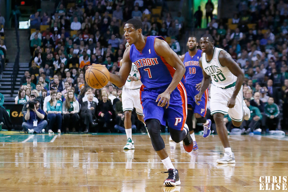 03 April 2013: Detroit Pistons point guard Brandon Knight (7) brings the ball upcourt on a fastbreak during the Boston Celtics 98-93 victory over the Detroit Pistons at the TD Garden, Boston, Massachusetts, USA.