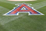 ANAHEIM, CA - MAY 22:  The Los Angeles Angels of Anaheim logo is painted on the infield grass for the game between the Atlanta Braves and the Los Angeles Angels of Anaheim on Sunday, May 22, 2011 at Angel Stadium in Anaheim, California. The Angels won the game 4-1. (Photo by Paul Spinelli/MLB Photos via Getty Images)