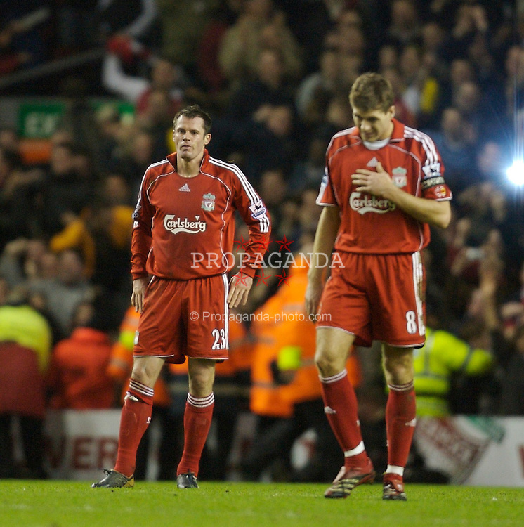 Liverpool, England - Saturday, January 6, 2007: Liverpool's Jamie Carragher and Steven Gerrard look dejected as Arsenal's Thierry Henry celebrates scoring the third goal during the FA Cup 3rd Round match at Anfield. (Pic by David Rawcliffe/Propaganda)