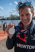London, Great Britain, Caryn DAVIES, with the medal, after winning the Newton Women's Boat Race.  Newton Women's Boat race and the reserve races Mortlake. ENGLAND. <br /> <br /> 17:25:22  Saturday  11/04/2015<br /> <br /> [Mandatory Credit; Intersport-images]