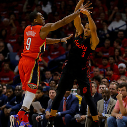 Apr 19, 2018; New Orleans, LA, USA; Portland Trail Blazers guard CJ McCollum (3) is defended by New Orleans Pelicans guard Rajon Rondo (9) during the first half in game three of the first round of the 2018 NBA Playoffs at the Smoothie King Center. Mandatory Credit: Derick E. Hingle-USA TODAY Sports
