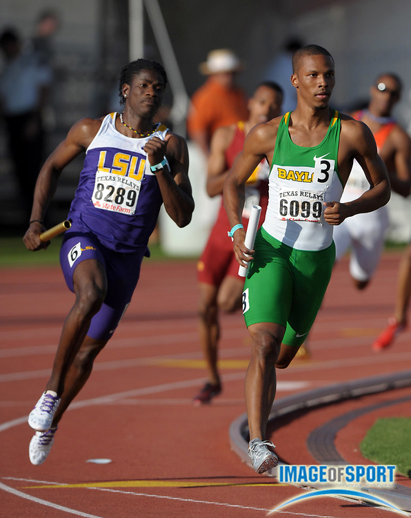 Mar 31, 2012; Austin, TX, USA; Riker Hylton of LSU (left) and Zwede Hewitt of Baylor on the anchor leg of the 4 x 400m relay in the 85th Clyde Littlefield Texas Relays at Mike A. Myers Stadium. LSU won in 3:04.54 and Baylor was second in 3:04.67.