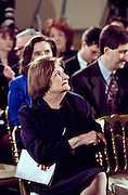 Veteran White House correspondent Helen Thomas during President Clinton first solo news conference in almost a year, in the East Room of the White House March 19, 1999. Thomas has covered the White House since 1961