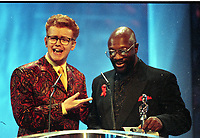Chris Evans and Curtis Mayfield,  The BRIT Awards 1995 <br /> Monday 20 Feb 1995.<br /> Alexandra Palace, London, England<br /> Photo: JM Enternational