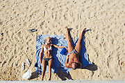 Sunbathing on the beach at Sardinia Bay (Olbia) on 10 July 2018. Christian Mantuano / OneShot