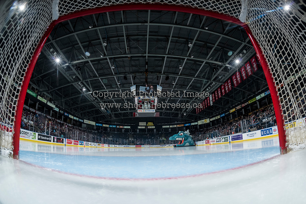 KELOWNA, CANADA - DECEMBER 1:  Prospera Place waits the start of the game between the Kelowna Rockets and the Saskatoon Blades on December 1, 2018 at Prospera Place in Kelowna, British Columbia, Canada.  (Photo by Marissa Baecker/Shoot the Breeze)
