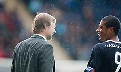 Steven Pressley, Falkirk manager and Falkirk's Lyle Taylor..Falkirk 3 v 0 Stirling Albion, Ramsdens Cup..© Michael Schofield.