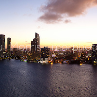 Aerial view of Miami at twilight featuring the Edgwater neighborhood north of downtown Miami on Biscayne Bay. This version is watermarked, contact us to license and clean version.