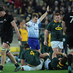 Referee Nigel Owens awards a penalty to the Springboks during the Rugby Championship match between the New Zealand All Blacks and South Africa Springboks at Westpac Stadium in Wellington, New Zealand on Saturday, 15 September 2018. Photo: Dave Lintott / lintottphoto.co.nz