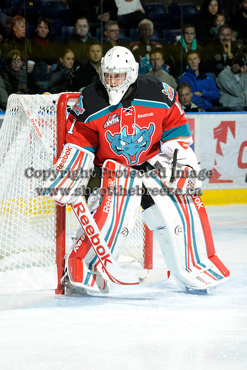 KELOWNA, CANADA, OCTOBER 26:  Adam Brown #1 of the Kelowna Rockets defends the net as the Prince George Cougars visit the Kelowna Rockets on October 26, 2011 at Prospera Place in Kelowna, British Columbia, Canada (Photo by Marissa Baecker/Shoot the Breeze) *** Local Caption *** Adam Brown;