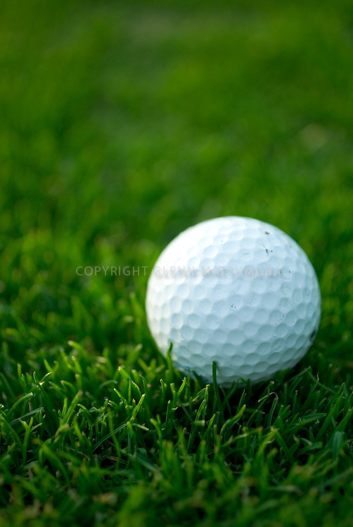 Close up of golf ball at Stanford Golf course.