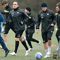 St Johnstone Training....20.01.12<br /> New loan signings Lee Croft and Jack Compton during training this morning before tomorrows game agains Hibs<br /> Picture by Graeme Hart.<br /> Copyright Perthshire Picture Agency<br /> Tel: 01738 623350  Mobile: 07990 594431