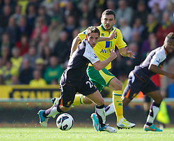 NORWICH, ENGLAND - Saturday, September 29, 2012: Liverpool's Joe Allen in action against Norwich City during the Premiership match at Carrow Road. (Pic by David Rawcliffe/Propaganda)