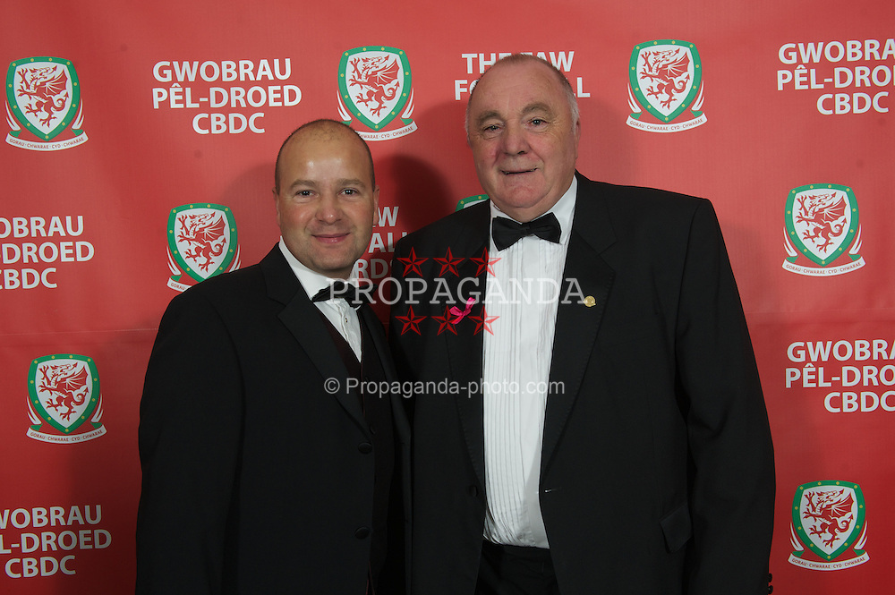 CARDIFF, WALES - Monday, October 8, 2012: Wales' FAW President Trevor Lloyd-Hughes and Chief-Executive Jonathan Ford arrive at the FAW Player of the Year Awards Dinner at the National Museum Cardiff. (Pic by David Rawcliffe/Propaganda)