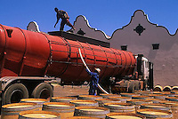 ca. March 1999, South Africa --- Container Truck and Wine Barrels --- Image by © Owen Franken/CORBIS winemaking in South Africa
