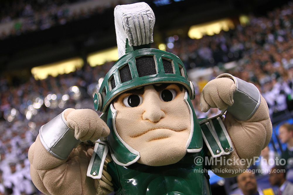Dec. 03, 2011; Indianapolis, IN, USA; Michigan State Spartans mascot Sparty seen on the sidelines against the Wisconsin Badgers at Lucas Oil Stadium. Mandatory credit: Michael Hickey-US PRESSWIRE