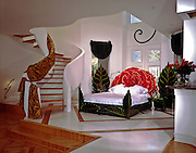 Red Headboard, Green Palm Leaves, Red Flowered headboard,  Bed, Red Headboard, Interior Design Photo Interior Design Photo, Interior Design Photo, Contemporary Interior .jpg