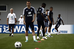 June 23, 2018 - Moscow, Russia - France's head coach Didier Deschamps (L) looks as his players during a training session at the Glebovets stadium in Istra, on June 23, 2018, during the Russia 2018 World Cup football tournament. (Credit Image: © Mehdi Taamallah/NurPhoto via ZUMA Press)