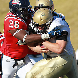 Samford linebacker Darion Sutton hits Wofford Eric Breitenstein in the first half at Seibert Stadium in Homewood, Ala., Saturday, Oct 13, 2012. Samford defeats Wofford 24-17 in Overtime. (Marvin Gentry)