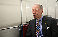 Senator Chuck Grassley (R-IA) rides the subway system under the US Capitol Building in Washington, DC on Wednesday, April 10, 2013.