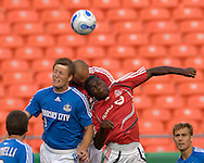 July 1, 2007 - Kansas City, MO..Kansas City Wizards midfielder Sasha Victorine (L), Toronto FC Midfielder (R) and forward Danny Dichico (C) go up for a header during the first half at Arrowhead Stadium in Kansas City, Missouri on July 1, 2007...MLS:  The Toronto FC and Wizards ended in a 1-1 tie.   .Photo by Peter G. Aiken / Cal Sport Media