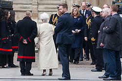 London, UK. 3 May, 2019. The Duke of Cambridge and the newly appointed Defence Secretary Penny Mordaunt leave Westminster Abbey following a National Service of Thanksgiving to mark fifty years of the Continuous at Sea Deterrent (CASD). Campaigners from Campaign For Nuclear Disarmament (CND), Stop the War Coalition, the Peace Pledge Union, the Quakers and other faith groups protested outside against the holding of the service throughout its duration.