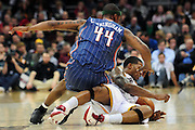 April 5, 2011; Cleveland, OH, USA; Charlotte Bobcats forward Dante Cunningham (44) and Cleveland Cavaliers shooting guard Alonzo Gee (33) scramble for a loose ball during the third quarter at Quicken Loans Arena. The Cavaliers beat the Bobcats 99-89. Mandatory Credit: Jason Miller-US PRESSWIRE