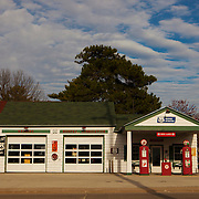Ambler's Texaco Gas Station on historic U.S. Route 66. The Mother Road starts in Chicago traveling through 6 states and ending in Santa Monica, California.<br /> Photography by Jose More