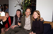 Cornelia Parker, Kutlug Ataman after-party. Princes Gate after opening at the Serpentine. 10 February 2003. © Copyright Photograph by Dafydd Jones 66 Stockwell Park Rd. London SW9 0DA Tel 020 7733 0108 www.dafjones.com