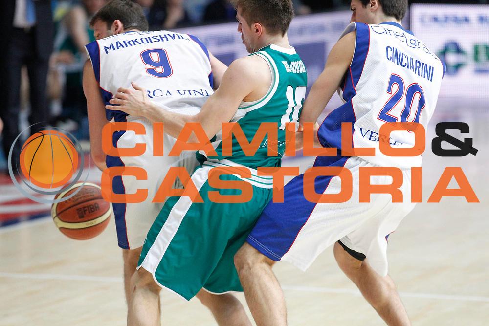 DESCRIZIONE : Cantu Campionato Lega A 2011-12 Bennet Cantu Benetton Treviso<br /> GIOCATORE : Manuchar Markoishvili Andrea De Nicolao Andrea Cinciarini<br /> CATEGORIA : Palleggio Contrasto <br /> SQUADRA : Bennet Cantu<br /> EVENTO : Campionato Lega A 2011-2012<br /> GARA : Bennet Cantu Benetton Treviso<br /> DATA : 26/02/2012<br /> SPORT : Pallacanestro<br /> AUTORE : Agenzia Ciamillo-Castoria/G.Cottini<br /> Galleria : Lega Basket A 2011-2012<br /> Fotonotizia : Cantu Campionato Lega A 2011-12 Bennet Cantu Benetton Treviso<br /> Predefinita :