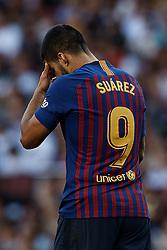 September 29, 2018 - Barcelona, Barcelona, Spain - Luis Suarez of FC Barcelona looks down during the La Liga match between FC Barcelona and Athletic Club de Bilbao at Camp Nou on September 29, 2018 in Barcelona, Spain  (Credit Image: © David Aliaga/NurPhoto/ZUMA Press)