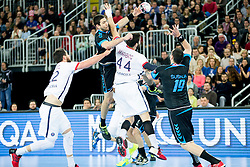 Luka Sebetic #14 of PPD Zagreb and Nikola Karabatic #44 of Paris Sant-Germain during handball match between PPD Zagreb (CRO) and Paris Saint-Germain (FRA) in 11th Round of Group Phase of EHF Champions League 2015/16, on February 10, 2016 in Arena Zagreb, Zagreb, Croatia. Photo by Urban Urbanc / Sportida