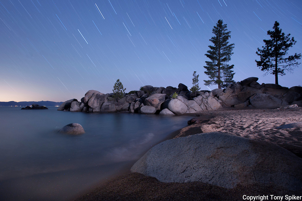 """Stars Over Chimney Beach 3"" - A night photograph of Chimney Beach, on the Eastern Shore of Lake Tahoe"