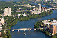 Colorado River winds through downtown Austin, Texas, as Lady Bird Lake.
