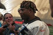 Miami Dolphins running back Kalen Ballage (27) speaks with reporters after indoor practice during training camp at the Baptist Health Training Facility at Nova Southeastern University, Friday, August 2, 2019, in Davie, Fla. (Kim Hukari/Image of Sport)