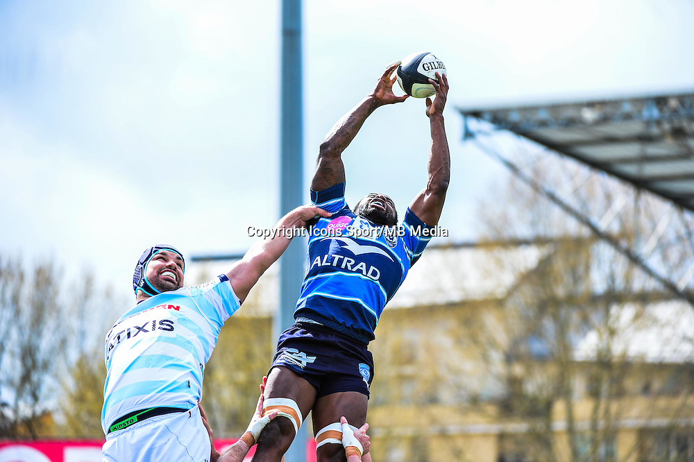 Fulgence OUEDRAOGO / Francois VAN DER MERWE  - 11.04.2015 - Racing Metro / Montpellier  - 22eme journee de Top 14 <br />Photo : Dave Winter / Icon Sport