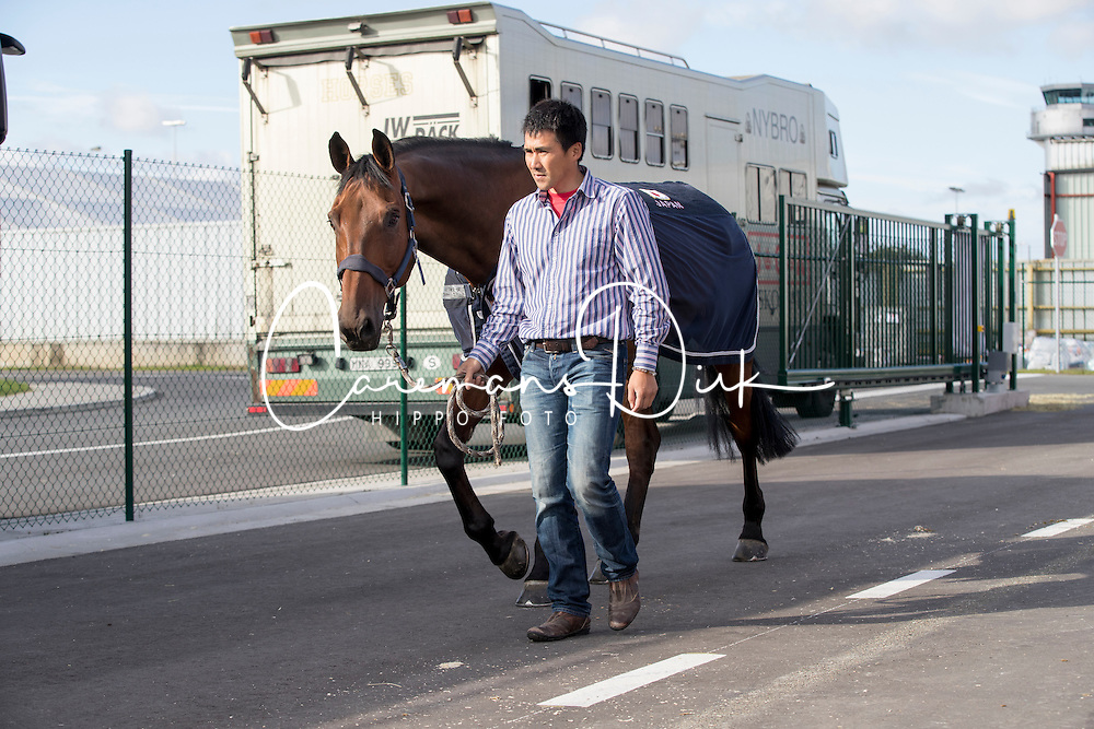 Yoshiaki Oiwa, The Dube Of Cavan<br /> Departure of the horses to the Rio Olympics from Liege Airport - Liege 2016<br /> © Hippo Foto - Dirk Caremans<br /> 30/07/16