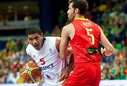 Nicolas Batum of France vs Rudy Fernandez of Spain during basketball game between National basketball teams of France and Spain at FIBA Europe Eurobasket Lithuania 2011, on September 11, 2011, in Siemens Arena,  Vilnius, Lithuania.  (Photo by Vid Ponikvar / Sportida)