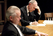 Geoff Burkman (left) and Richard Young during a dress rehearsal of A Case of Libel at the Dayton Theatre Guild in Dayton, Wednesday, May 19, 2010.