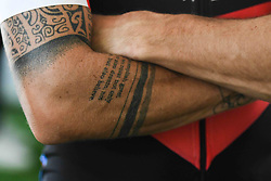 October 11, 2018 - Marmaris, Turkey - Tattoo seen on Nicolas Roche's arms ahead of the third stage - the Troy Stage 137.2km Fethiye - Marmaris, of the 54th Presidential Cycling Tour of Turkey 2018. .On Thursday, October 11, 2018, in Marmaris, Turkey. (Credit Image: © Artur Widak/NurPhoto via ZUMA Press)
