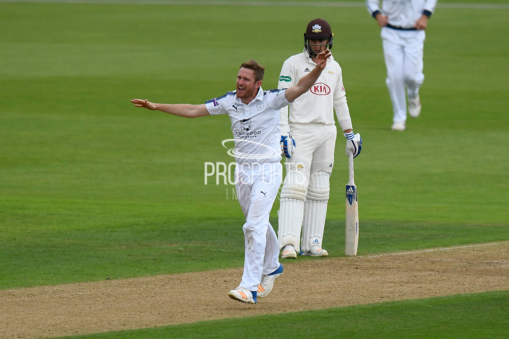 Wicket - Liam Dawson of Hampshire celebrates taking the wicket of Gareth Batty of Surrey during the Specsavers County Champ Div 1 match between Hampshire County Cricket Club and Surrey County Cricket Club at the Ageas Bowl, Southampton, United Kingdom on 6 September 2017. Photo by Graham Hunt.