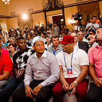 MLB players Clayton Kershaw, Jon Jay, Alexei Ramirez, Nelson Cruz, Yasiel Puig, Miguel Cabrera, Brayan Pena, and Jose Abreu listen in during a press conference at the Hotel Nacional de Cuba as MLB players make a goodwill trip to Havana, Cuba. (Photo by Chip Litherland/The Players' Tribune)