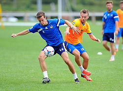 Bristol Rovers' Tom Lockyer battles for the ball with A Trialist  - Photo mandatory by-line: Joe Meredith/JMP - Mobile: 07966 386802 04/07/2014 - SPORT - FOOTBALL - Bristol - Friends Life Sports Ground - Bristol Rovers Pre-Season training