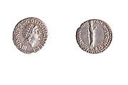 Mark Antony 38 BCE 3.8 gr silver. Right Antony as priest.